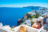 Santorini Greece luxury island with volcano and amazing sunsets