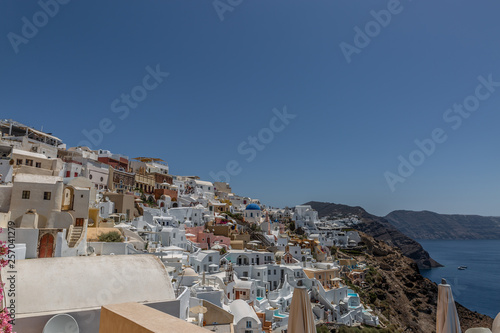 View over the buildings in  Oia, Santorini. Architecture, buildings, houses, culture, travel, europe