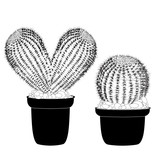 Kaktus heart shaped pot cactus tattoo sign for t-shirt, card valentine day, banner isolated cacti front view in ceramic pot on white background vector - 257092636