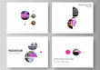 The minimalistic vector layout of the presentation slides design business templates. Simple design futuristic concept. Creative background with circles and round shapes that form planets and stars.