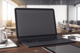 Wooden workplace with laptop
