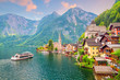 Leinwandbild Motiv Scenic view of famous Hallstatt village in Austria