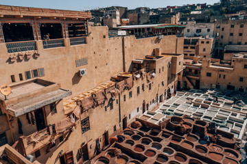 traditional tannery in the medina of fez, morocco