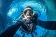 Leinwandbild Motiv Scuba diver underwater selfie portrait in the ocean