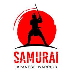 Silhouette of Japanese samurai warrior with sword, Vector