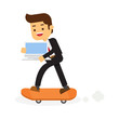 Businessman on skateboard with laptop