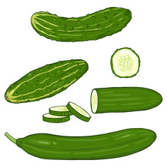 Vector Set of Cartoon Cucumbers