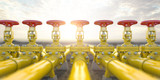 Yellow gas pipe line valves. Oil and gas extraction, production  and transportation industrial background. - 257173087