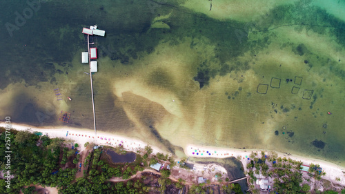 Beautiful aerial view beach starfish in Phu Quoc island with sea,white sand beach and palms, touristic concept © Hryhorii