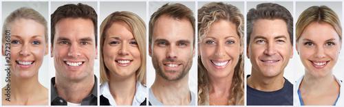 Smiling people faces set © Kurhan