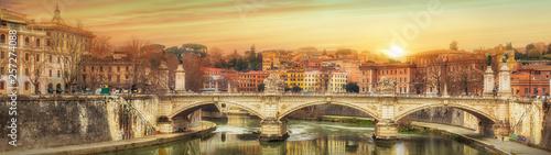 Vittorio Emanuele famous bridge in Rome, Italy
