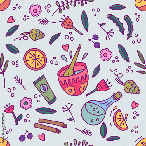 Organic cosmetics seamless pattern. Hand drawn illustration. © hromova