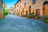 Rustic stone houses decorated with colorful flowers, Pienza, Tuscany, Italy
