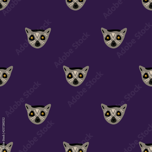 fototapeta na ścianę Seamless Pattern With Faces Of Lemur.