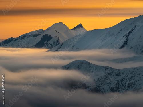 High Tatras in the foggy morning.