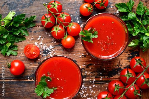fototapeta na ścianę Fresh homemade tomato juice.Top view with copy space.