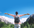 Quadro Woman with raised arms up on nature in Dolomites, South Tyrol, Italy, Europe.