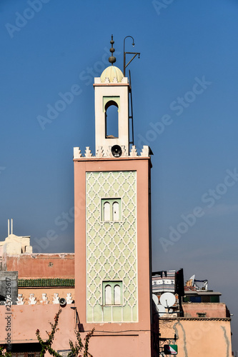 colorful houses in old town of Marrakech Morocco, photo as background