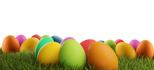 colorful Easter eggs green grass 3d-illustration isolated