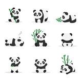 Fototapeta Fototapety do sypialni - Cute pandas flat vector color illustrations set © backup_studio