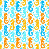 Paper cutout marine style kids design seamless pattern. Funny cartoon seahorse, starfish and bubble endless background. EPS 10 vector illustration