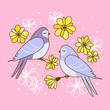 Spring greeting card with cute swallows with flowers - 257383843