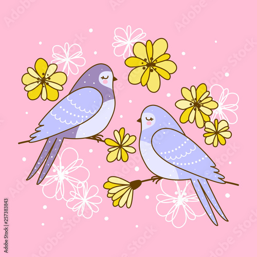 Spring greeting card with cute swallows with flowers