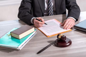 Lawyer reading legal document (Lorem ipsum text used) © thodonal