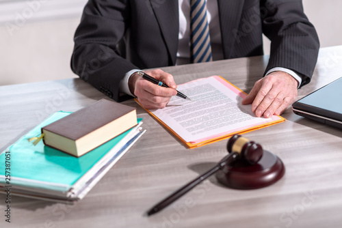 Lawyer reading legal document (Lorem ipsum text used)