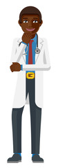 A young black medical doctor cartoon character mascot © Christos Georghiou