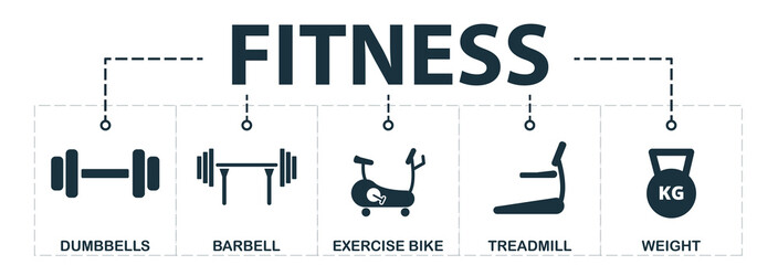 Sport Equipment set icons collection. Includes simple elements such as dumbbells, barbell, exercise bike, treadmill, weight premium icons © Anton Shaparenko