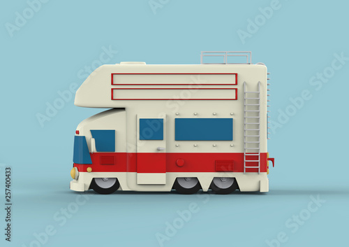 Vintage camping cars for all family. 3d render © Yevhen