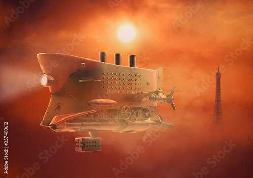 Vintage airship Zeppelin. in the sky. 3d illustration © Yevhen