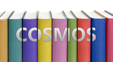 Fototapeta Fototapety kosmos - Cosmos and books in a library - ideas of studying, learning and reading pictured as colorful books on white background with english word as a title, 3d illustration © GoodIdeas