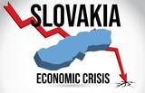 Slovakia Map Financial Crisis Economic Collapse Market Crash Global Meltdown Vector.
