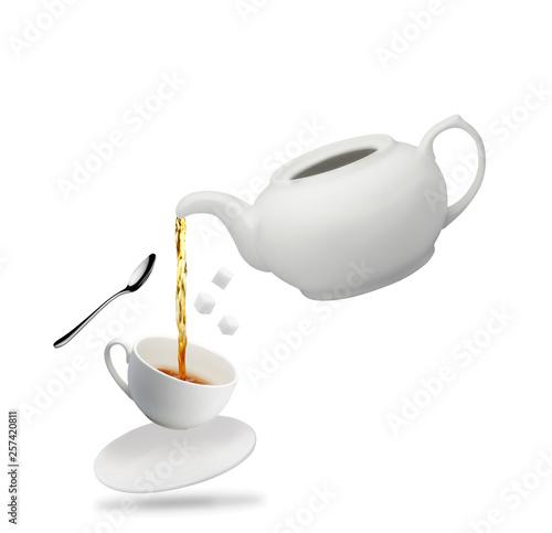 teapot mug white tea spoon sugar fall isolated on white © dimakp