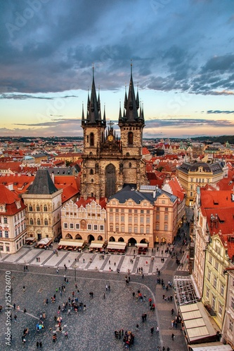 Prague old town square and church of Mother of God before Tyn in Prague, Czech Republic.