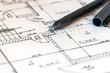 Leinwanddruck Bild - Planzeichnung eines Hauses mit Fineliner