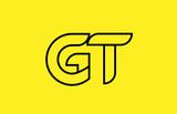 yellow black line alphabet letter GT G T logo combination company icon design