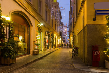 Night Christmas illumination of Parma in Italy