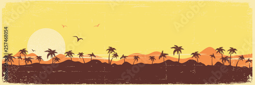 Tropical island paradise vintage background with palms silhouette on old paper texture - 257468054