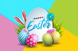 Vector Illustration of Happy Easter Holiday with Painted Egg, Rabbit Ears and Spring Flower on Colorful Background. International Celebration Design with Typography for Greeting Card, Party Invitation - 257486679