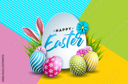 Vector Illustration of Happy Easter Holiday with Painted Egg, Rabbit Ears and Spring Flower on Colorful Background. International Celebration Design with Typography for Greeting Card, Party Invitation © articular