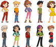 Group of cartoon young children. Teenagers. - 257509292