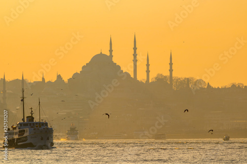 fototapeta na ścianę a ferry and cityscape of istanbul at sunset