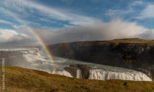 Iceland - double rainbow at waterfall © Ievgen