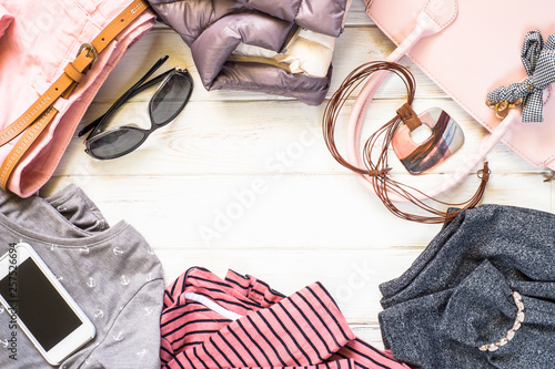 Leinwandbild Motiv Woman clothes and accessories in pink and gray colors