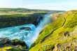 A view of Gullfoss waterfall in Iceland - 257533261