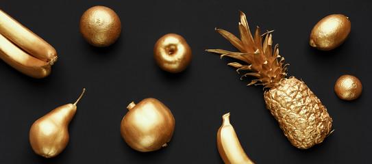 Collage of golden fruits © Prostock-studio