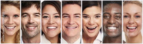 Happy smiling people faces © Kurhan